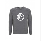 Light grey sweatshirt with white logo